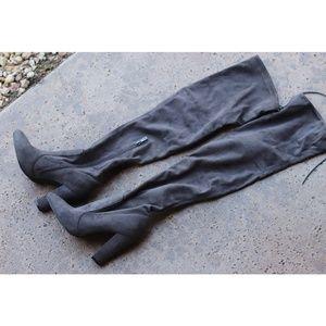 Over the knee vegan suede heel boots with top tie
